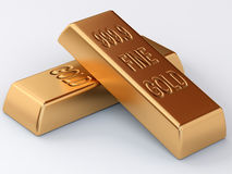 Two golden ingots. Two banking golden bullions in stack royalty free illustration