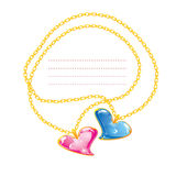 Two Golden jewelry chains with heart. Pendants Stock Photography