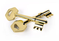 Two golden key isolated on white Stock Photos