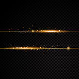 Two golden lines with light effects.  on black transparent background. Vector illustration Royalty Free Stock Image