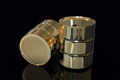 Two Golden Metal Industrial Oil Barrels 3D rendering. Isolated on black background stock illustration