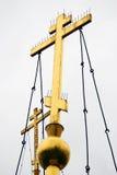 Two golden orthodox crosses Stock Photo