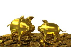 Two golden piggy banks in the gold dollar coins. 3D rendering Royalty Free Illustration