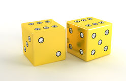 Two golden polished dies with diamonds Royalty Free Stock Photos