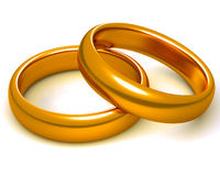 Two golden rings. Two golden wedding rings. Isolated on white. associated with wedding Stock Images