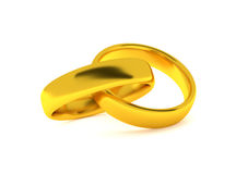 Two golden rings, 3d render Stock Photography
