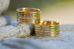 Two golden rings with diamonds Royalty Free Stock Images