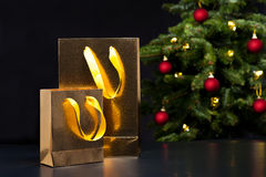 Two golden shopping bags Stock Image