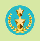 Two golden stars and golden grains crown icon Royalty Free Stock Photo