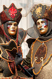 Two golden Venice Masks, Carnival. Royalty Free Stock Images