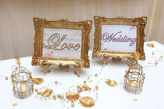 Two golden wedding frames Royalty Free Stock Photo