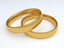 Two golden wedding rings. On white background. 3D render illustration Stock Images