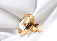 Two golden wedding rings Royalty Free Stock Image