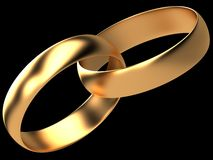 Two golden wedding rings Royalty Free Stock Images