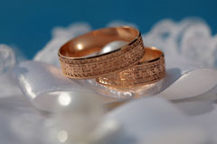 Two golden wedding rings Stock Photography
