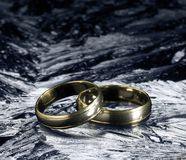 Two golden wedding rings on ice surface Stock Images
