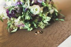 Two golden wedding rings isolated background concept Stock Photography