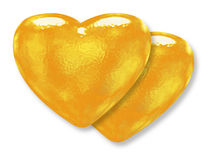 Two golden yellow pattern hearts Royalty Free Stock Image