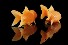 Two goldfish swimming away. On a black background stock photo