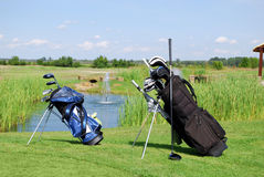 Two golf bags Royalty Free Stock Images