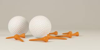 Two golf balls with tee Stock Images