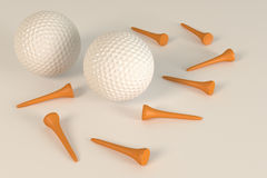 Two golf balls with tee Royalty Free Stock Photo