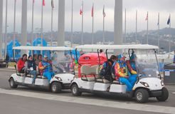 Two golf cars in olympic park of Sochi Royalty Free Stock Photos