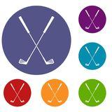 Two golf clubs icons set. In flat circle red, blue and green color for web Stock Photography
