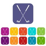 Two golf clubs icons set flat Royalty Free Stock Photo