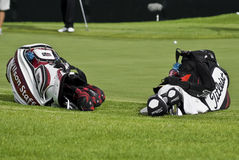 Two Golfers Club Bags. Two Golf Club Bags, lying on there sides, just off the edge of the green Royalty Free Stock Image