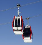 Two gondola lifts close-up view Stock Photos