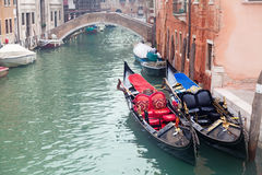 Two gondola in Venice near pier Royalty Free Stock Photos