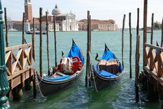 Two gondolas. Two romantic gondolas in Venice Royalty Free Stock Photography