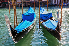 Two gondolas on the grand canal in Venice Royalty Free Stock Photos