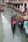 Two gondolas on Venice canal Royalty Free Stock Photography