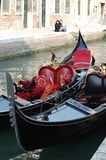 Two Gondolas at Venice canal,Italy Stock Photo
