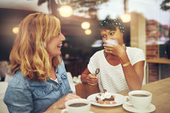 Two good friends enjoying a cup of coffee Royalty Free Stock Photos