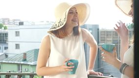 Two gorgeous female friends wearing large summer hats on the balcony and talking to each other. While drinking coffee. Shot through the window. Slow motion stock footage