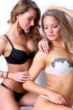 Two gorgeous girl together in lingerie Stock Photo