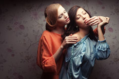 Two gorgeous girlfriends making love Stock Photos