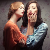 Two gorgeous girlfriends making love Royalty Free Stock Photography