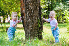 Two gorgeous girls twins walking Royalty Free Stock Image