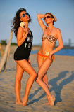 Two gorgeous swimsuit models posing on the beach Stock Photos
