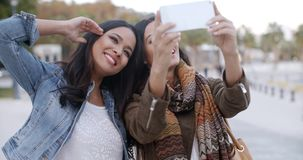Two gorgeous women posing for a selfie stock video