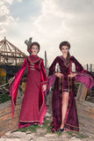 Two gorgeous women in retro clothes Royalty Free Stock Photography