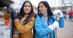 Two gorgeous young brunette snowboarders Stock Photos