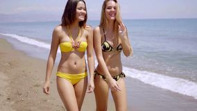 Two gorgeous young women wearing bikinis. Strolling along the edge of the sea on a tropical beach chatting and smiling happily stock video