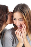 Two gossip teenager girls telling a secret Royalty Free Stock Image