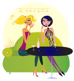 Two gossip women in night club. Two women in a trendy night club sharing gossip. Lifestyle Illustration vector illustration