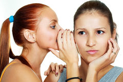 Two gossiping girls Stock Photos